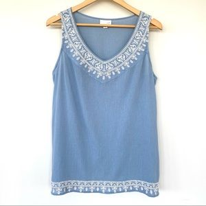 J. Jill sleeveless top with embroidered trim